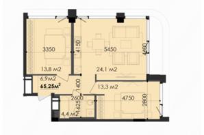 ЖК Respect Hall Респект Холл: планування 2-кімнатної квартири 65.25 м²