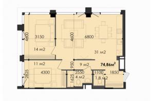 ЖК Respect Hall Респект Холл: планування 2-кімнатної квартири 74.86 м²