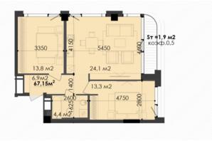ЖК Respect Hall Респект Холл: планування 2-кімнатної квартири 67.15 м²
