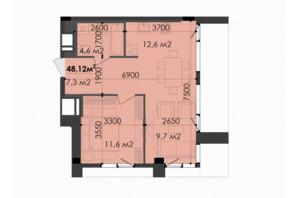 ЖК Respect Hall Респект Холл: планування 1-кімнатної квартири 48.12 м²