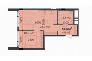 ЖК Respect Hall Респект Холл: планування 1-кімнатної квартири 42.92 м²
