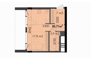 ЖК Respect Hall Респект Холл: планування 1-кімнатної квартири 30.71 м²