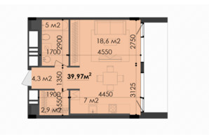 ЖК Respect Hall Респект Холл: планування 1-кімнатної квартири 39.97 м²