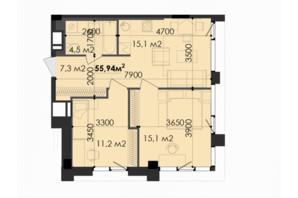 ЖК Respect Hall Респект Холл: планування 1-кімнатної квартири 55.94 м²