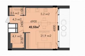ЖК Respect Hall Респект Холл: планування 1-кімнатної квартири 42.53 м²