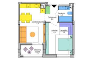 ЖК Respublika : планировка 1-комнатной квартиры 43.3 м²