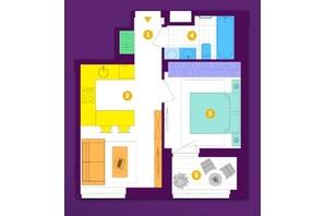 ЖК Respublika : планировка 1-комнатной квартиры 35 м²