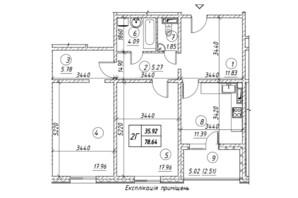 ЖК Ревуцкий: планировка 2-комнатной квартиры 78.64 м²