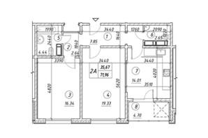 ЖК Ревуцкий: планировка 2-комнатной квартиры 71.96 м²