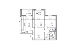 ЖК Ревуцкий: планировка 2-комнатной квартиры 77.85 м²