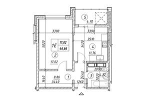 ЖК Ревуцкий: планировка 1-комнатной квартиры 46.66 м²