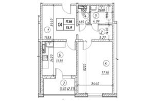 ЖК Ревуцький: планування 1-кімнатної квартири 54.9 м²