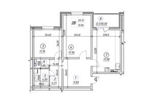 ЖК Ревуцький: планування 2-кімнатної квартири 72.85 м²