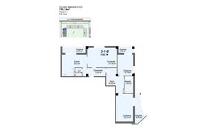 ЖК Резиденція: планування 3-кімнатної квартири 136.14 м²