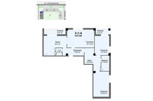 ЖК Резиденція: планування 34-кімнатної квартири 127.68 м²