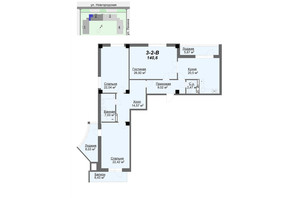 ЖК Резиденція: планування 3-кімнатної квартири 135.89 м²