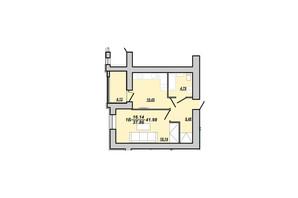 ЖК Рідний дім: планування 1-кімнатної квартири 41.98 м²