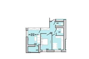 ЖК Рідний дім: планування 3-кімнатної квартири 66.72 м²
