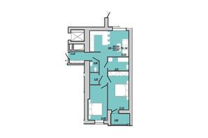 ЖК Рідний дім: планування 2-кімнатної квартири 76.34 м²