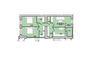 ЖК Рідний дім: планування 3-кімнатної квартири 81.79 м²