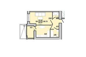ЖК Рідний дім: планування 1-кімнатної квартири 39.73 м²