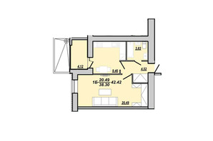 ЖК Рідний дім: планування 1-кімнатної квартири 42.42 м²