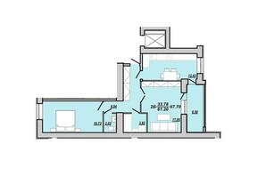 ЖК Рідний дім: планування 2-кімнатної квартири 67.7 м²