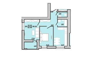 ЖК Рідний дім: планування 2-кімнатної квартири 66.83 м²