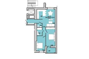 ЖК Рідний дім: планування 3-кімнатної квартири 76.51 м²