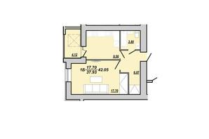 ЖК Рідний дім: планування 1-кімнатної квартири 42.05 м²