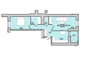 ЖК Рідний дім: планування 2-кімнатної квартири 58.19 м²