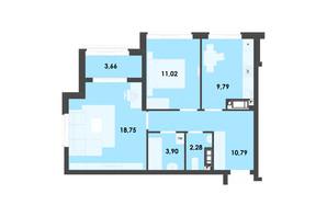 ЖК River City: планування 2-кімнатної квартири 60.19 м²