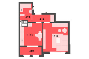 ЖК River City: планировка 1-комнатной квартиры 42.93 м²