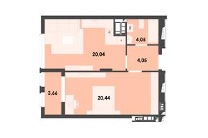 ЖК River City: планування 1-кімнатної квартири 52.24 м²