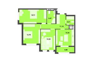 ЖК River City: планування 3-кімнатної квартири 91.58 м²