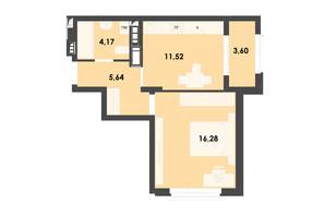 ЖК River City: планировка 1-комнатной квартиры 41.21 м²