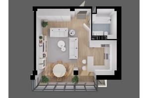 ЖК River House: планування 1-кімнатної квартири 42.9 м²