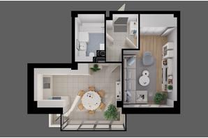 ЖК River House: планування 1-кімнатної квартири 43.2 м²