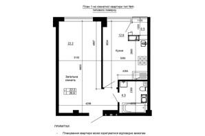 ЖК River House: планування 1-кімнатної квартири 39.6 м²