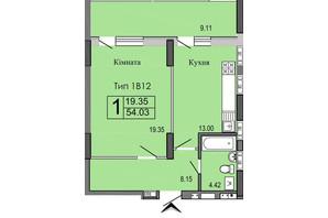 ЖК River House: планування 1-кімнатної квартири 54.03 м²