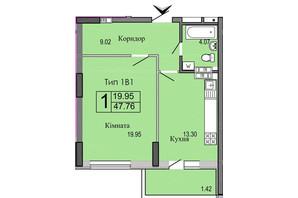 ЖК River House: планировка 1-комнатной квартиры 47.76 м²