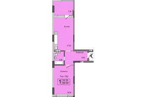 ЖК River House: планировка 1-комнатной квартиры 59.5 м²