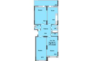 ЖК River House: планировка 3-комнатной квартиры 110.02 м²