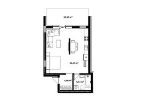 ЖК River Land: планировка 1-комнатной квартиры 52 м²