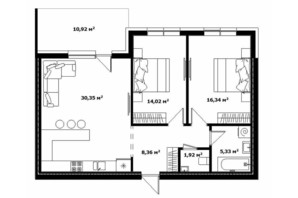 ЖК River Land: планировка 2-комнатной квартиры 82 м²