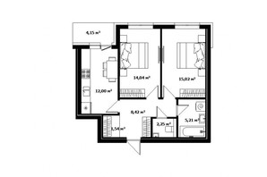 ЖК River Land: планировка 1-комнатной квартиры 60 м²