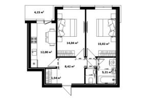 ЖК River Land: планування 2-кімнатної квартири 57.1 м²