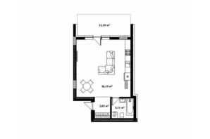 ЖК River Land: планування 1-кімнатної квартири 51.7 м²