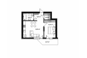 ЖК River Land: планування 1-кімнатної квартири 50.7 м²
