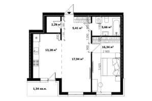 ЖК River Land: планування 2-кімнатної квартири 61.5 м²